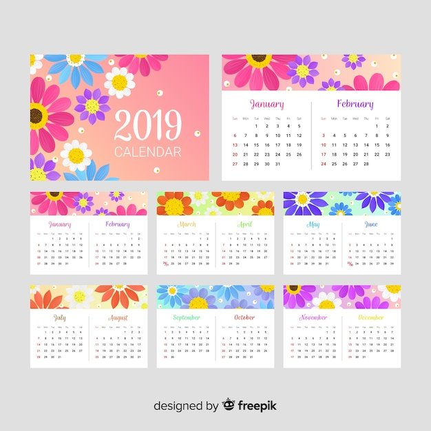 Template Calendrier 2019.Lovely 2019 Calendar Template With Floral Style Vector