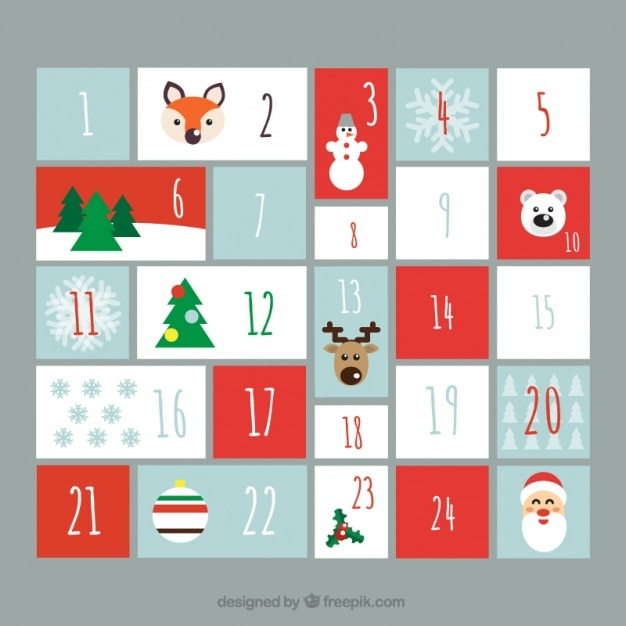 Typography Advent Calendar : Lovely advent calendar in flat design vector free download