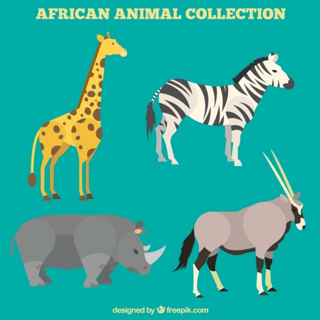Lovely african animals set in flat\ design