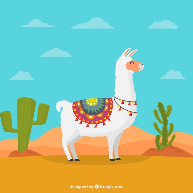 Lovely alpaca character wit flat design Free Vector
