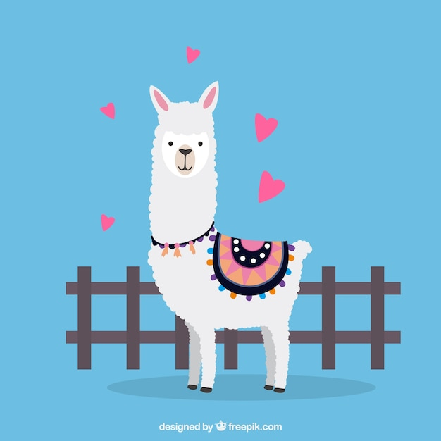 Lovely alpaca character with flat design Free Vector