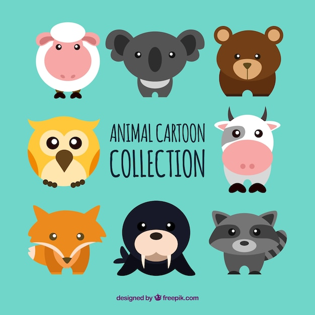 Lovely animal collection with cartoon\ style
