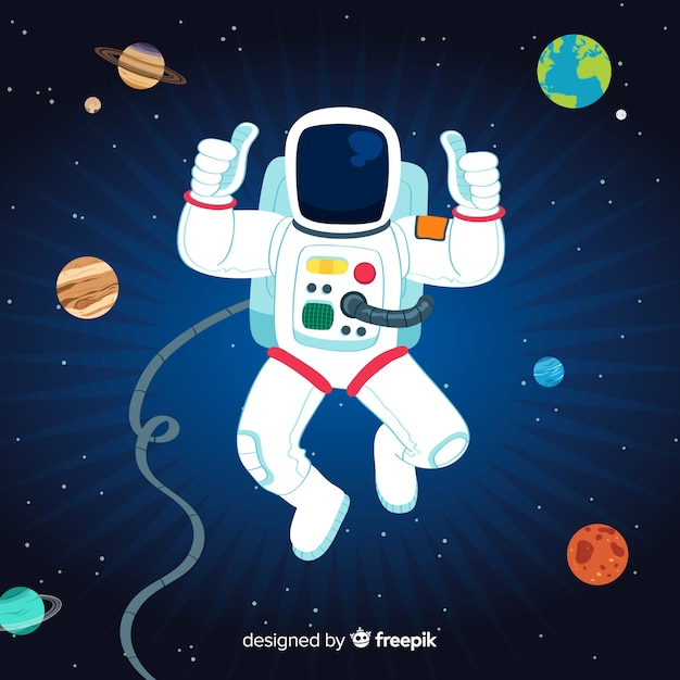 Lovely astronaut character with flat design Free Vector