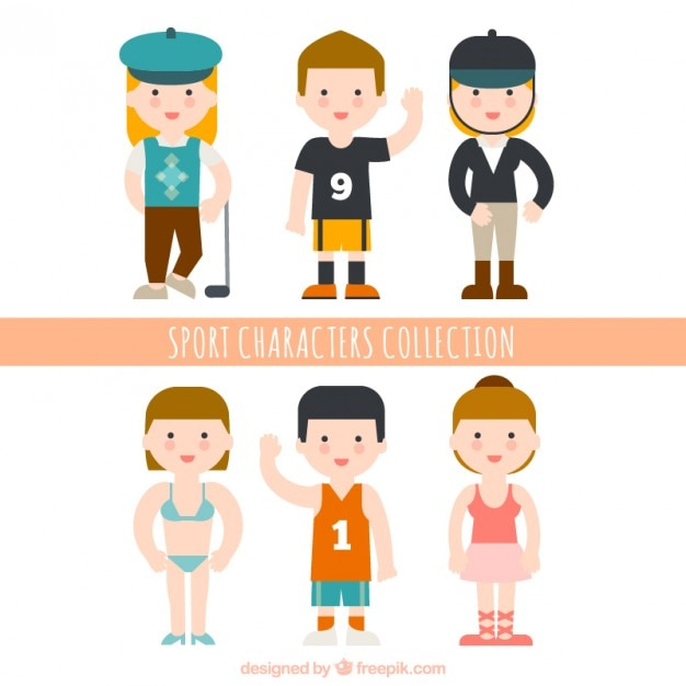 Lovely athletic people collection