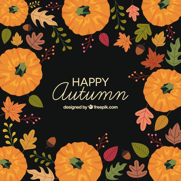 Lovely autumn background with flat design Free Vector