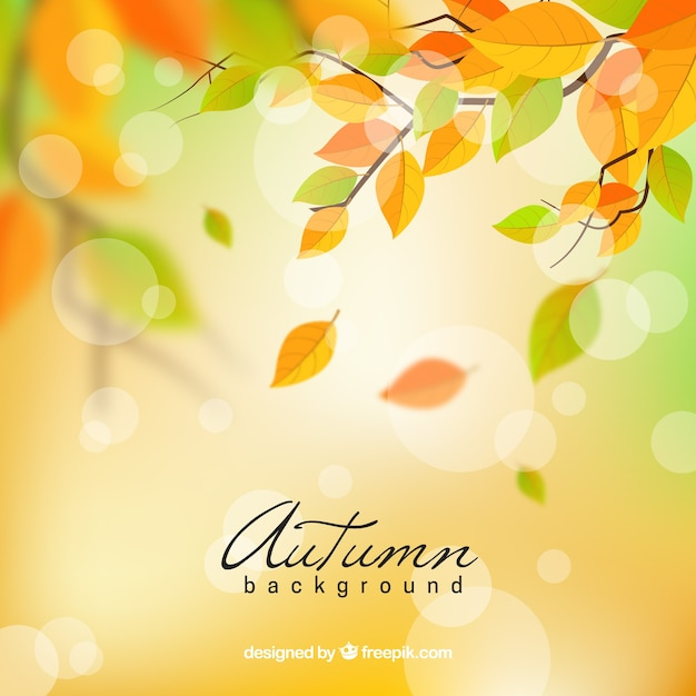 Lovely autumn background with realistic design Free Vector