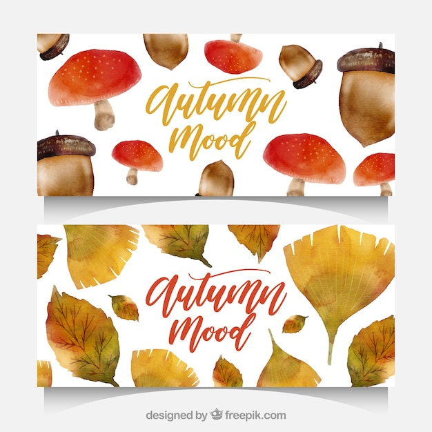 Lovely autumn banners with watercolor style