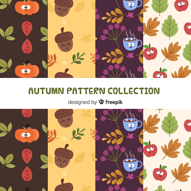 Lovely autumn pattern collection Free Vector