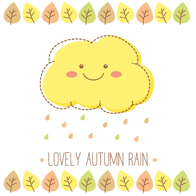 Lovely autumn rain cloud with raindrops and leaves Free Vector