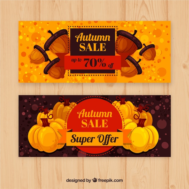 Lovely autumn sale banners with modern style Free Vector