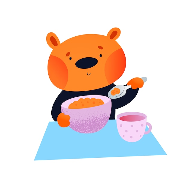Lovely baby animal teddy bear with plate and cup Premium Vector