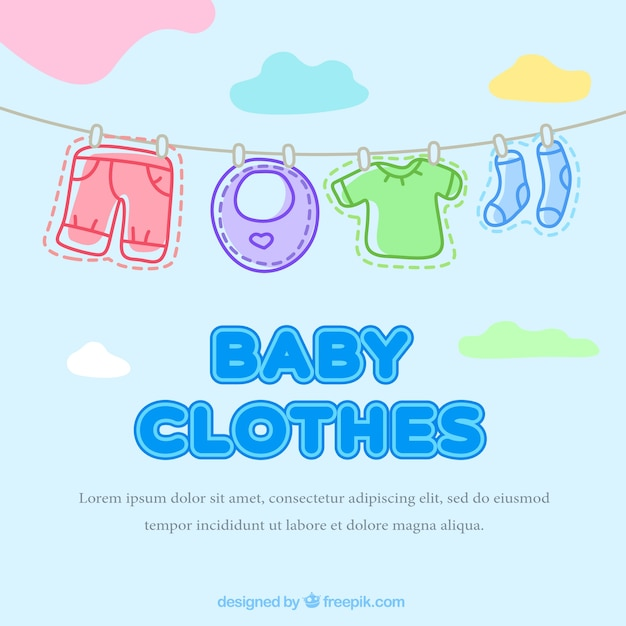 download vector lovely baby clothes hanging on a rope background