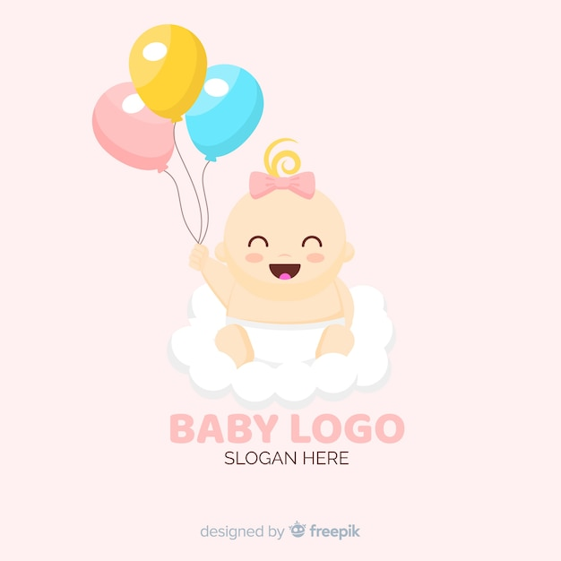 Lovely baby shop logo template with modern style Free Vector