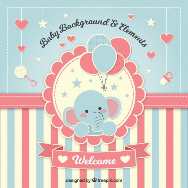 Lovely baby shower background with an elephant Free Vector