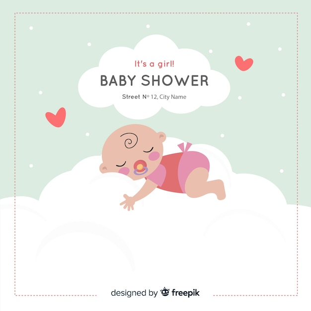Lovely baby shower composition with flat design Free Vector