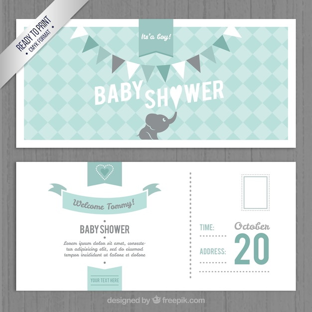 Lovely Baby Shower Invitation Template Vector Free Download