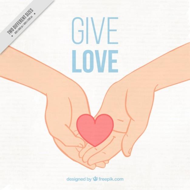 Bella sfondo delle mani con un cuore Vettore gratuito