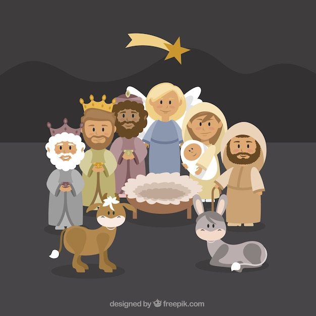 Lovely background of  nativity scene characters Free Vector