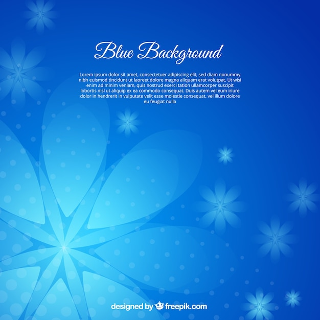 Lovely background with blue flowers Free Vector