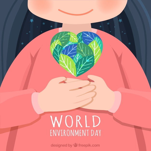 Lovely background with kid and heart for world environment day Free Vector