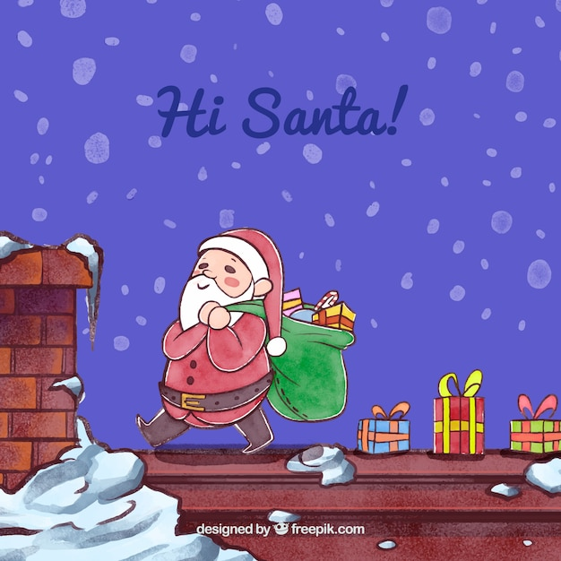 Lovely background with watercolor santa claus