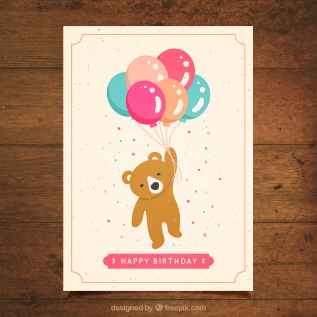 Lovely bear with balloons birthday card Vector – Birthday Card Bear