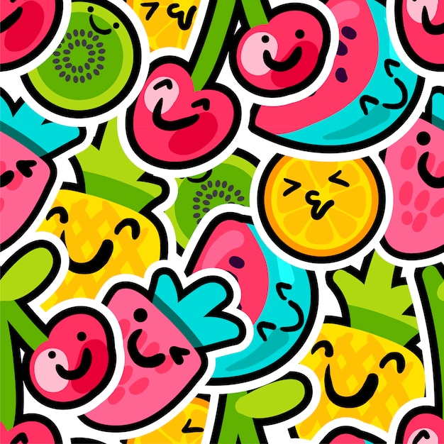 Lovely berries and fruits mix pattern Premium Vector