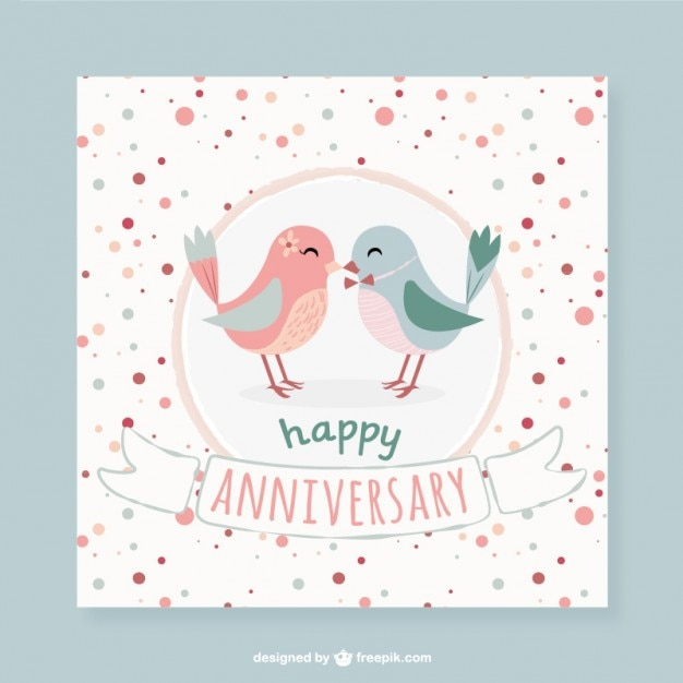 Lovely Birds Dotted Anniversary Card Free Vector  Anniversary Card Free