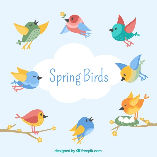 Lovely Birds In Vintage Style Free Vector