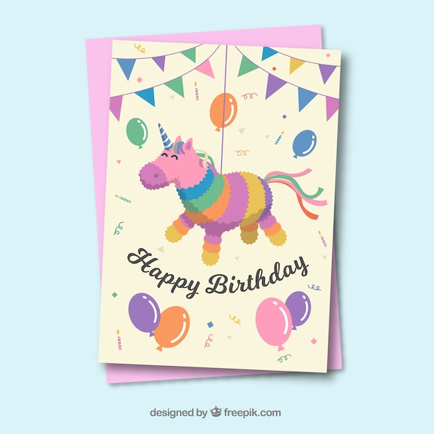 Lovely birthday card template with flat deisng Free Vector