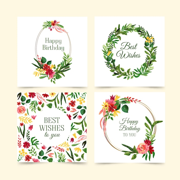 Lovely birthday cards collection with flowers Free Vector