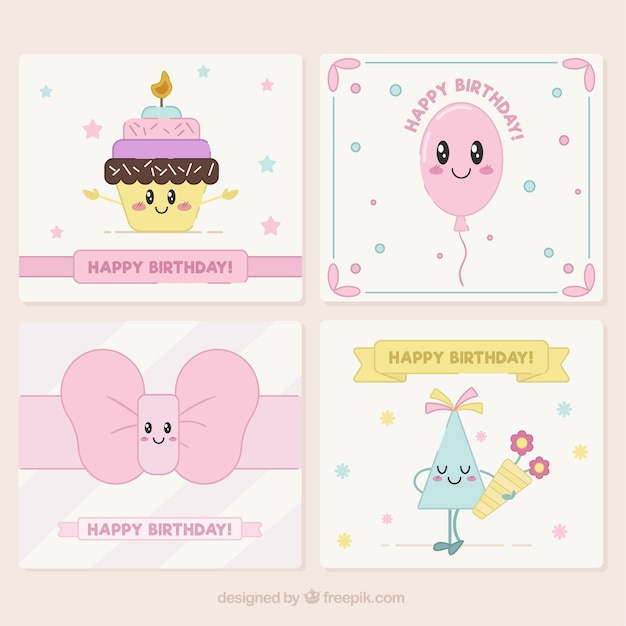 Lovely birthday cards pack vector free download lovely birthday cards pack free vector bookmarktalkfo Gallery