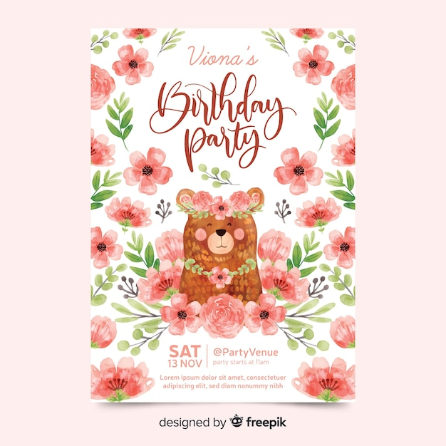 Lovely birthday invitation with flowers Free Vector