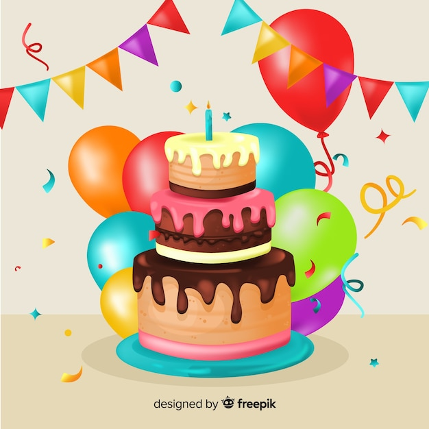 Lovely Birthday Party Composition Vector Free Download