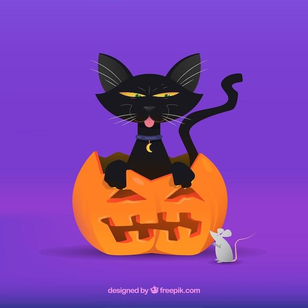 Прекрасная черная кошка и мышь Бесплатные векторы