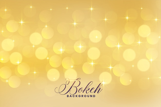 Lovely bokeh lights in golden color with stars background Free Vector