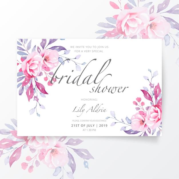 Lovely bridal shower invitation template Free Vector