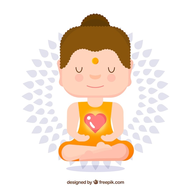 Lovely budha with cartoon style Free Vector