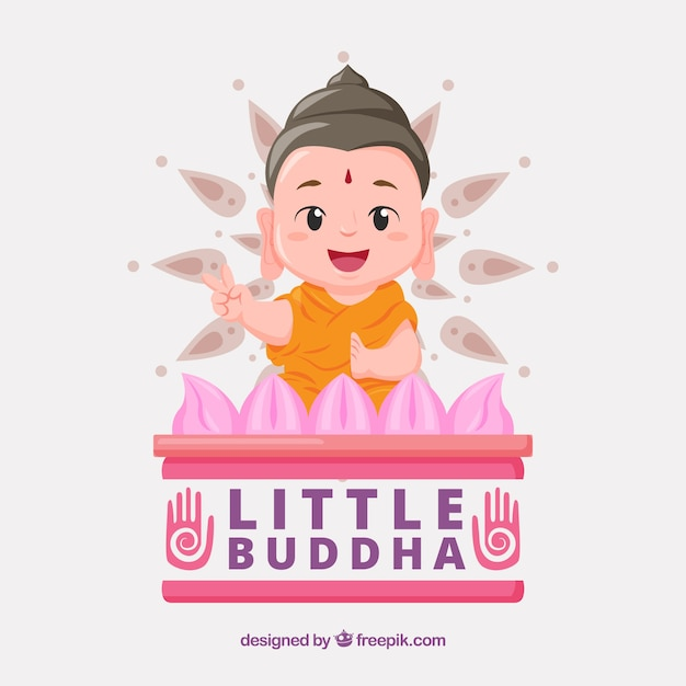 Lovely budha with flat design Free Vector