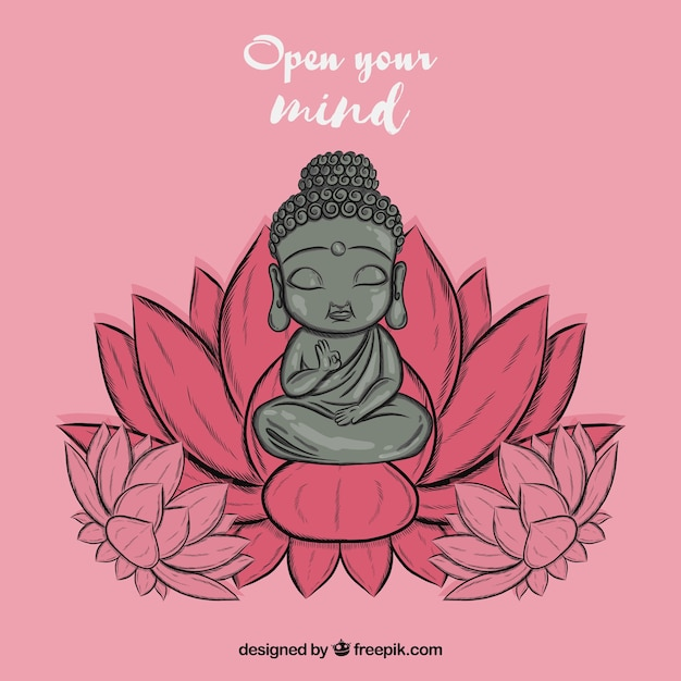 Lovely budha with hand drawn style Free Vector