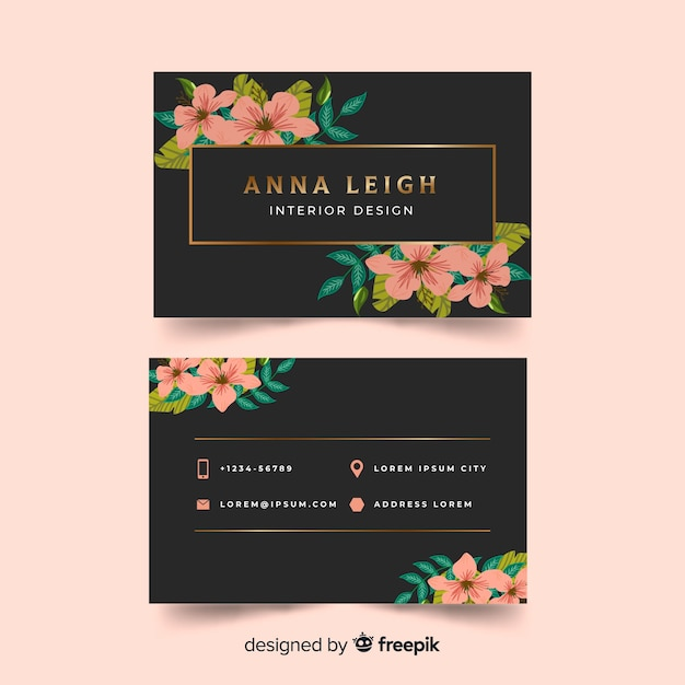 Lovely business card template with floral style vector free download lovely business card template with floral style free vector friedricerecipe Images