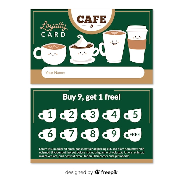 Lovely cafe loyalty card template Free Vector