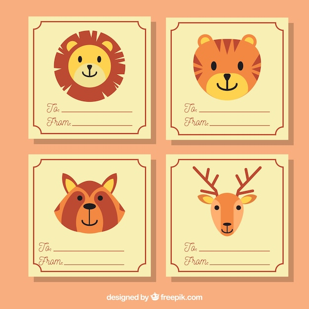 Lovely cards collection with smiley animals