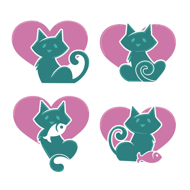 Lovely cartoon cats, my favorite pets, vector collection Premium Vector