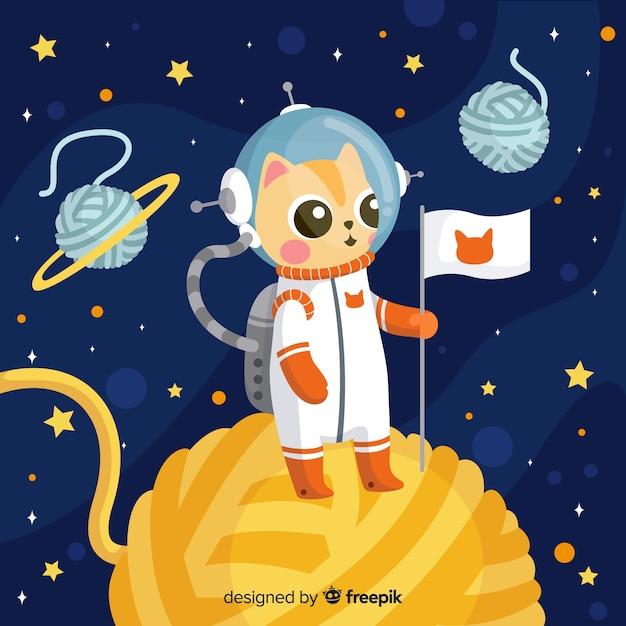 Lovely cat astronaut character with flat design Free Vector