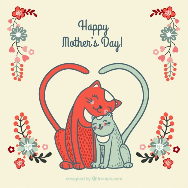 Lovely cat mother\'s day card
