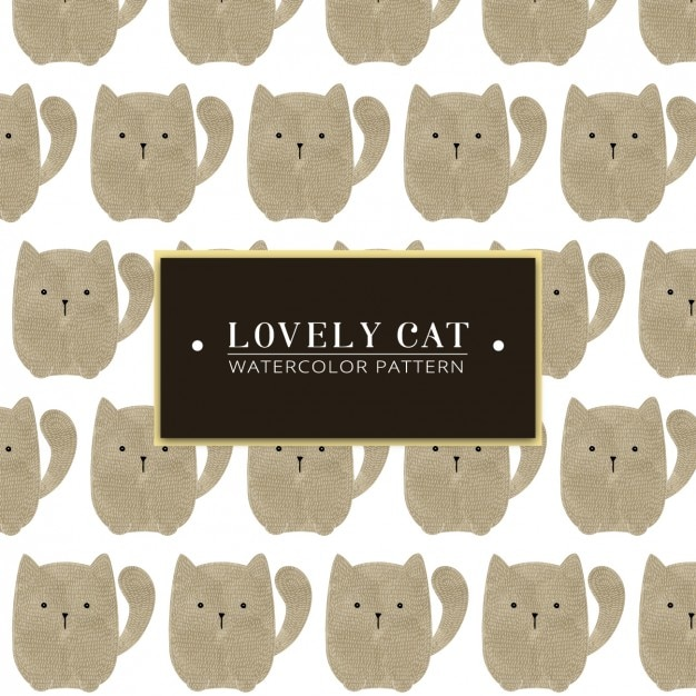 Lovely cat watercolor pattern Free Vector