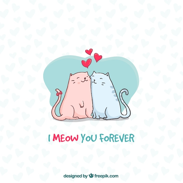 Lovely cats background Free Vector