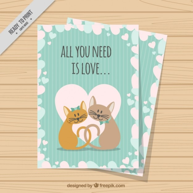 Lovely cats love card