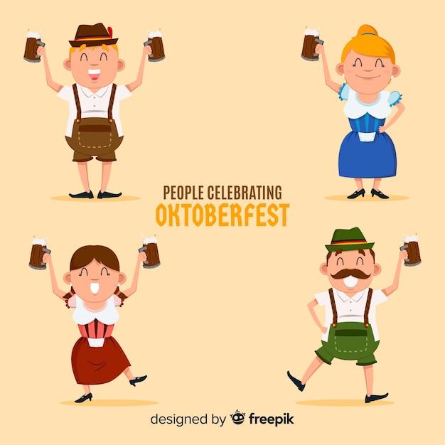 Lovely characters celebrating oktoberfest Free Vector